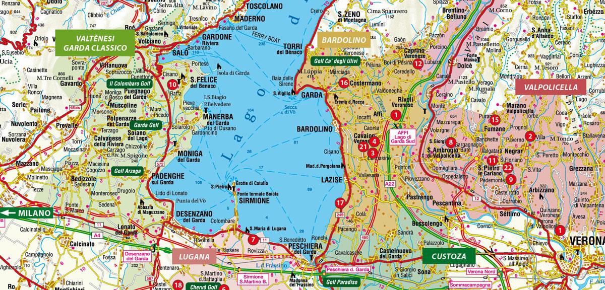 Cartina Fisica Lago Di Garda.Wine Regions At Lake Garda Gardasee
